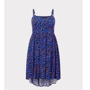 NWT Torrid 0 blue and pink animal print dress
